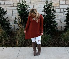 This easy rust sweater is spiced up with an asymmetrical sweater and is so versatile! This sweater can be worn in so many different ways.