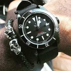 Fan instagram Pic !   @gasmunkee posted a cool photo of his Tudor Heritage Bay Dark Watch nicely paired with our Black Nappa Leather and Silver Twin Skull Bracelets. Nice combo !   Available now at Northskull.com   For a chance to get featured post a cool photo of your Northskull jewelry with the tag #Northskullfanpic on Instagram.