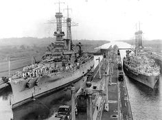 USS Arkansas (BB 33) & USS Texas (BB 35) shown transiting Panama Canal 1919 (Texas was actually the larger but not in this perspective)