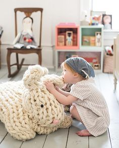 Giant Arm Knit Bunny by Anne Weil of Flax & Twine                                                                                                                                                                                 More