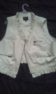 cute white leather vest