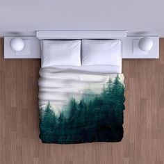 really awesome Etsy listing at https://www.etsy.com/listing/264936799/misty-forest-mountain-duvet-cover-super
