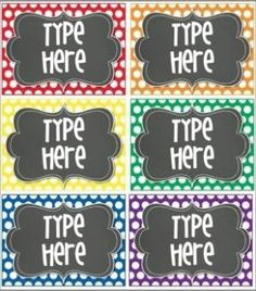 6 Blank Editable Polka Dot Tags/ Labels for your classroom.  You will need to have POWERPOINT to add your own text to the tags/ labels.  You will be able to save the labels/tags with your text on it. Just go to file and save! by Tifanie