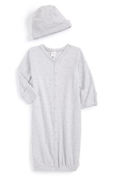 Oh how I wish we had used this from day one. We always felt like we were going to break Jax getting him in and out of those one piece pajamas! This full button front nightgown was a dream come true! Get more than one! -SG