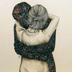 Pra mim, teu abraço é o céu. 💘 (Ilustração Lucy Salgado)