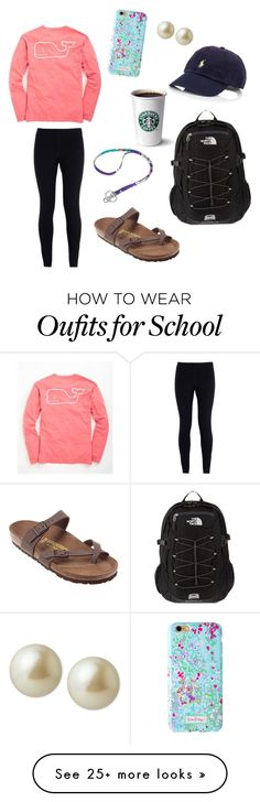 """spring school day"" by zzalmighty on Polyvore featuring NIKE, Vineyard Vines, Birkenstock, Polo Ralph Lauren, The North Face, Carolee, Vera Bradley, women's clothing, women and female"