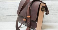 Leather + wood briefcase messenger bag. Hand stitched dark brown color for documents, papers, laptop, iPad Air, Macbook 11