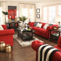 red home accents We wanted to make a statement with this room. We used our chesterfield sofa in red linen and dressed up the room with black and red accents. Black And Gold Living Room, Red Couch Living Room, Red Living Room Decor, Burgundy Living Room, Red Home Decor, Living Room Modern, Living Room Designs, Red Bedroom Decor, Living Rooms