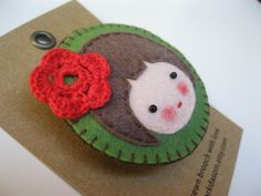 Hand sewn felt brooch cuty girl by parkdasom on Etsy, $15.00
