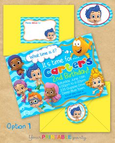 """NEW Bubble Guppies Party Invitation 5x7"""" with Address Labels, Includes Envelope Templates - DIGITAL files only - PERSONALIZED Print yourself. $14.00, via Etsy."""