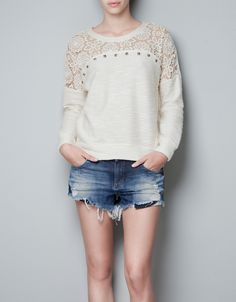 SWEATER WITH LACE DETAIL - T-shirts - TRF - ZARA United States