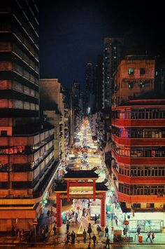 Temple Street in Kowloon, Hong Kong. Resembles Chinatown gate in Ottawa, Mississauga, Portland, Chicago...