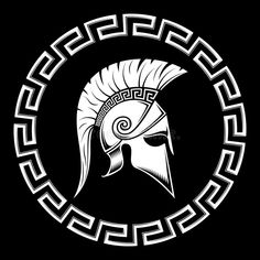 Illustration about WARRIOR OF SPARTA, Spartan shield, meander, helmet on a black background. Illustration of protection, graphic, banner - 93259706