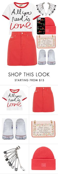 """Statement outfit"" by aleks-g ❤ liked on Polyvore featuring Alice + Olivia, AlexaChung, Converse, Moschino and Acne Studios"