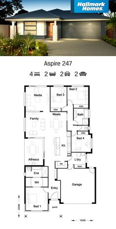 Home Designs & Floor Plans - Single & Double Storey 4 Bedroom House Plans, Family House Plans, Dream House Plans, Modern House Plans, Small House Plans, House Floor Plans, Modern Bungalow House, Bungalow House Plans, House Front Design
