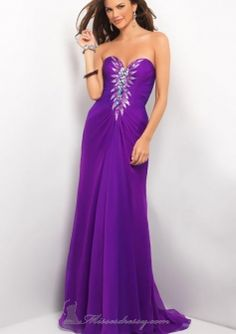 Purple One Shoulder Rhonestone Accent Backless Chiffon Long Prom / Military balls / Formal Dresses Bl Style