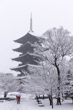 Snow in Five-story pagoda of To-ji Temple, Kyoto, Japan