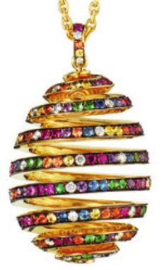 Rosamaria G Frangini | My Colorful Jewellery |TJS | Faberge egg pendant sapphires, tsavorite, diamonds                                                                                                                                                     More