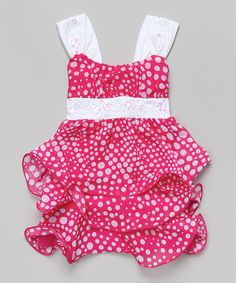 Love this Hot Pink Dot Tiered Bow Dress - Toddler & Girls by Citlali's Choice on #zulily! #zulilyfinds