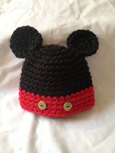 107357cddb0 Items similar to Crochet Baby Hat Mickey Mouse on Etsy