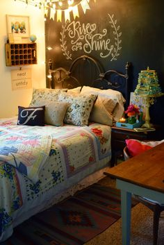 all things vintage-bedding, wall items, love the entire chalkboard wall, bunting, lamp...love this