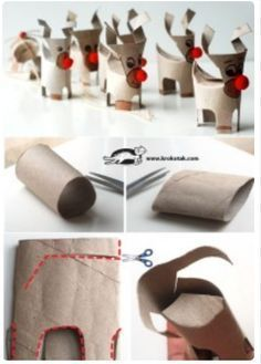 reindeer christmas cardboard DIY TP rolls tubes upcycling toilet paper roll xmas deco