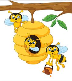 Cartoon branch of a tree with a beehive and a bee. Illustration of Cartoon branc , Art Drawings For Kids, Drawing For Kids, Cute Drawings, Art For Kids, Cartoon Cartoon, Baby Set, Bee Pictures, Bee Drawing, Bee Party