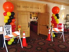 ADI held their annual security expo and decided to use a construction zone theme. We used balloon columns to bring their color scheme to life. Under Construction Theme, Construction Birthday Parties, Cars Birthday Parties, Birthday Banners, Birthday Invitations, Construction Party Decorations, Retirement Invitations, Construction Signs, Construction Business