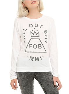 White long-sleeved T-shirt with grey Fall Out Boy MMI logo. MMI = 2001 AKA the year they formed.