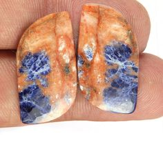 34 Cts Natural Sodalite Fancy Shape 32x16x4 Earring Pair Loose Gemstones #BhagwatiJewels