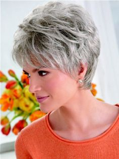 You'll look refined and elegant in a grey wig, so shop now to find Flexibility Lace Front Cropped Synthetic Grey Wigs in the shades and styles you've been searching for! Hair Styles For Women Over 50, Short Hair Cuts For Women, Short Hairstyles For Women, Wig Hairstyles, Hairstyles 2016, Short Grey Hair, Short Hair With Layers, Grey Wig, Gray Hair