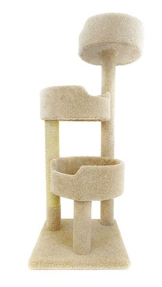 Features: -Made from solid wood, plush household grade carpet, uncoiled sisal rope, and sonic tubes. -Double base is making a sturdy and solid base. -Sisal rope giving kitty plenty of room to scrat More