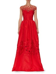Oscar De La Renta Floral-embellished silk-faille gown