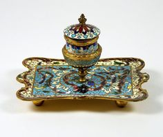Antique Champleve Inkwell French Enamel Tray w/ Pedestal Well
