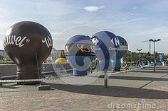 Advertising balloons  in front of Tauron Arena in Cracow. Modern entertainment and sports venue. The biggest one in Poland.