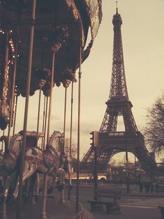 Sampling a view of the Eiffel Tower on the merry go round