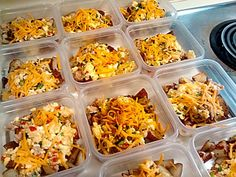 Breakfast bowls that are prepared with eggs, chicken sausage (or pork), cheese, potatoes, onions, and sweet peppers.  Freeze the extra bowls you make for when you need them.