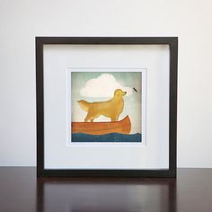 golden retriever in canoe print