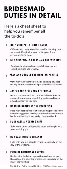 Wedding Planning: Bridesmaid Duties in Detail A bridesmaid plays a key role in any wedding - providing emotional support to the bride; helping with the planning process; and being involved in. Mod Wedding, Budget Wedding, Wedding Tips, Wedding Ceremony, Destination Wedding, Trendy Wedding, Wedding Stuff, Wedding Timeline, Summer Wedding