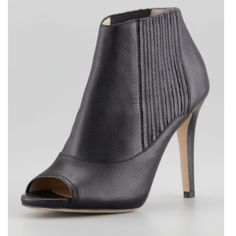 Jimmy Choo Brenna Booties. Jimmy Choo Brenna Black Open Toe Leather Booties. Worn 4 times. Great condition. No Scratches. Sold Out online. Comes with dust bag. Jimmy Choo Shoes Ankle Boots & Booties