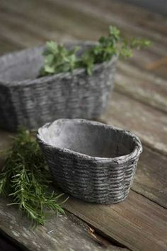 Concrete Oval Basket Containers.