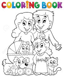 Family with Pets People Coloring Pages, Family Coloring Pages, Coloring Books, Family Theme, Happy Family, Smurfs, Famous People, Illustration, Snoopy
