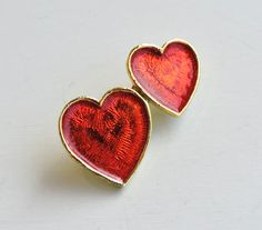 Vintage Heart Brooch, Red Enameled Double Heart Pin, Read Hearts, Iridescent Hearts, Gold Heart Brooch, Valentines Day Gift by ninthstreetvintage on Etsy