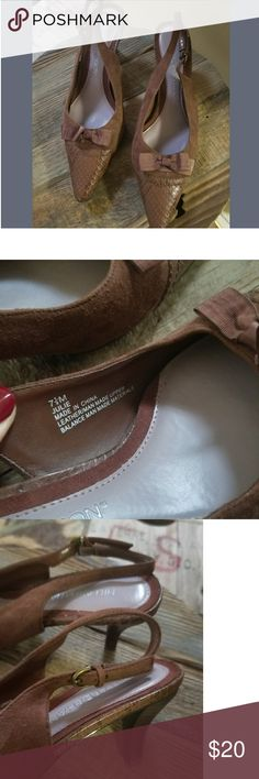 Hillard & Hanson Brown Suede Slingback Heels Loved & Still in Mint Condition! Kitten heel. 7.5' Comfort cushion and wears smoothly. They'll fit any size ankle given its multiple holes. Beautiful shoes! Dress them business or sassy casual 😉 Hillard & Hanson Shoes Heels
