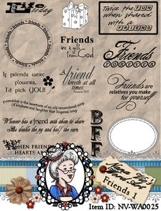 Friends 1, Word Art, Sentiments, Photography overlay, Clipart, Instant Download, Digital Stamps, Digi, ID:NV-WA0025 By Nana Vic