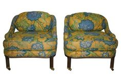 Midcentury Low Quilted Chairs, Pair