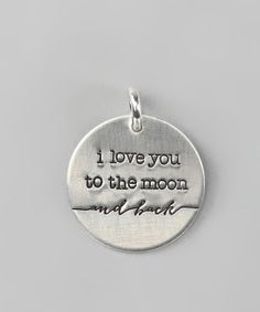 'I Love You to the Moon' Sterling Silver Necklace Charm.