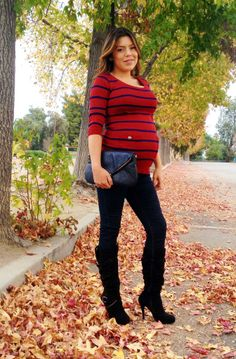 The Red and Navy Blue Stripe 3/4 Sleeve Betty Tunic from Heritwine Maternity. On Sale now for $15.99