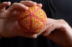 Temari ball Japanese art Japanese embroidery Kiku Warm colours