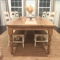 Distressed Reclaimed Farmhouse Dining Table by BushelandPeckFarm Pine Table, Wood Tables, Dining Tables, Coffee Tables, Bedford House, Farmhouse Dining Room Table, Furniture Makeover, Kitchen Decor, Family Room